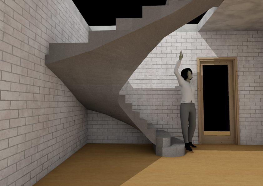 бетонная лестница в коттедж